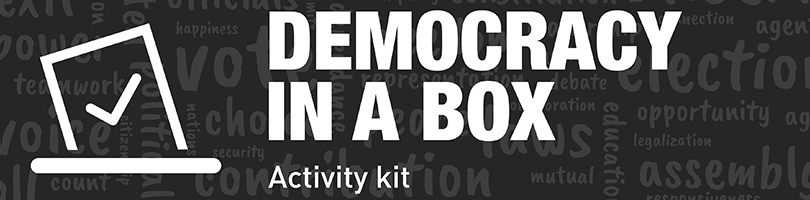Democracy in a Box Activity Kit label with election and democracy-related words in background